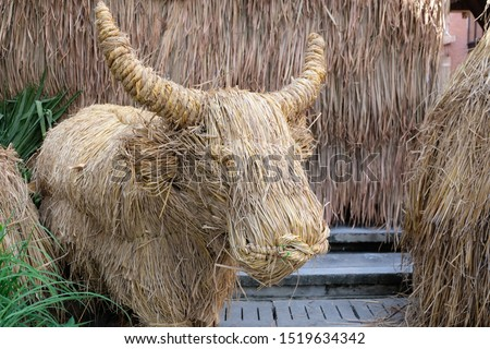 Art of dry straw.Buffalo.Straw, dry straw, straw background.  #1519634342