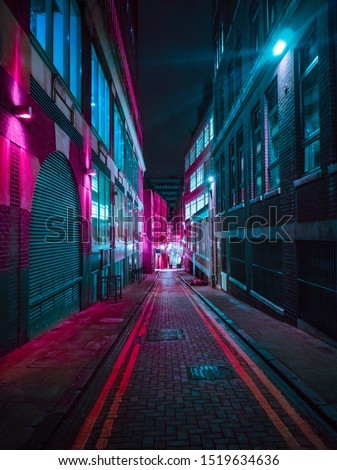 Streets of Birmingham, UK at night #1519634636