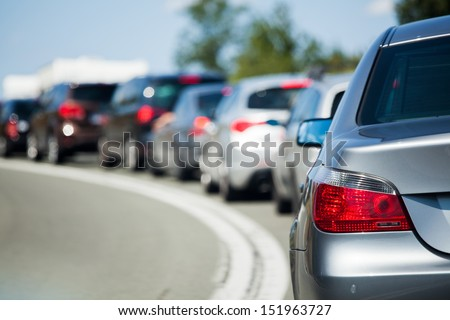 cars in a tourist traffic jam Royalty-Free Stock Photo #151963727