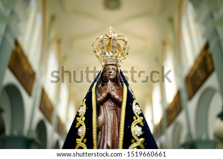 Statue of the image of Our Lady of Aparecida, mother of God in the Catholic religion, patroness of Brazil #1519660661