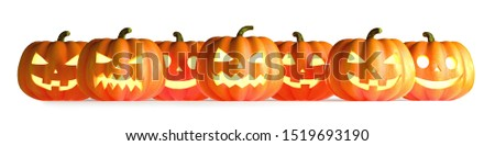 Many Halloween Pumpkins in a row isolated on white background. 3D Rendering illustration #1519693190