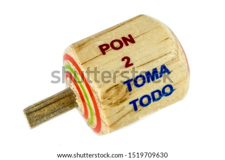 """Traditional pirinola mexican handmade wooden toy with titles in spanish """"take all, put one, put two, everyone puts"""" #1519709630"""