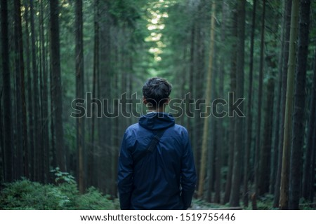 moody life style atmospheric picture of incognito guy back to camera on symmetry dark twilight pine trees forest natural frame background, connection between human and nature concept