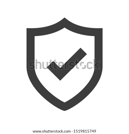 Shield icon. Shield with a checkmark in the middle Protection icon concept Royalty-Free Stock Photo #1519815749