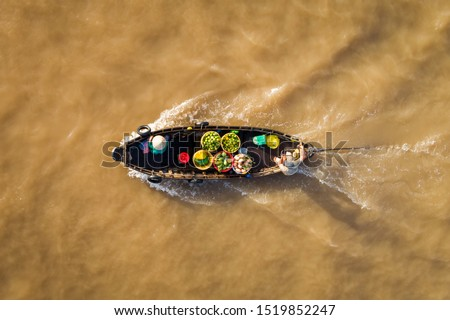 Cai Rang floating market, Can Tho, Vietnam, aerial view. Cai Rang is famous market in mekong delta, Vietnam.