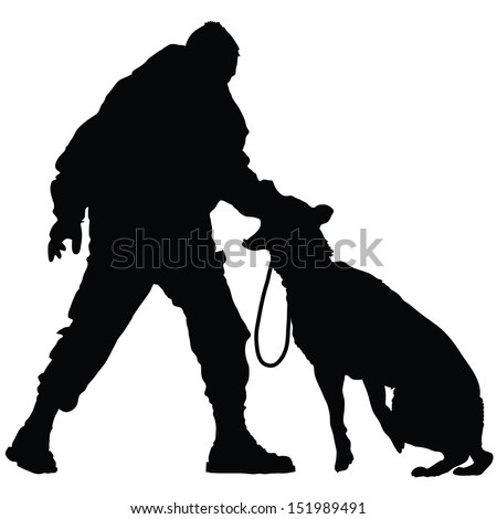 Silhouette of a police officer training with his dog partner  #151989491
