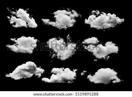 set of Clouds on black background #1519895288
