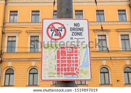Helsinki, Finland - June 20, 2019: Sign of the locked Drones on Senate Square. No drone zone #1519897019