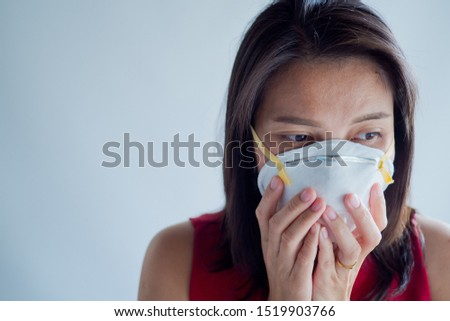 hygienic mask, woman wear dust mask  #1519903766