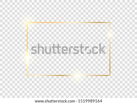 Gold square frame. Golden luxury glow line border. Gold shiny glowing vintage frame with shadows isolated on background. #1519989164