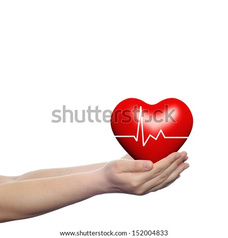 Concept or conceptual 3D red human heart sign or symbol with pulse held in human man or woman hands isolated on white background #152004833