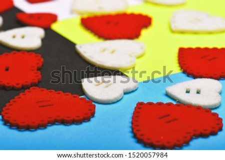 Minimal styled Valentines Day flatlay. Love and romance. Romantic greeting. valentines day hearts background. World heart day.Valentines day party. mock up creative design. Handmade hears for holiday. #1520057984
