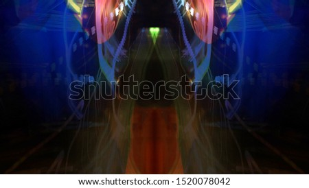 Light painting. Neon glow. Symmetry and reflection. Festive decoration. Abstract blurred background. Glowing texture. Shining pattern. #1520078042