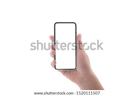 close up hand hold phone isolated on white, mock-up smartphone black color blank screen #1520111507
