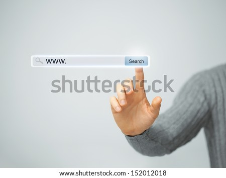 technology, searching system and internet concept - male hand pressing Search button #152012018