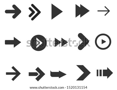 Black arrows set isolated on white background. Collection for web design, interface and more. #1520131154