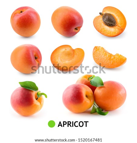 Apricot isolate. Apricot with leaf on white. Apricot slice, half, whole. Set of apricots. #1520167481
