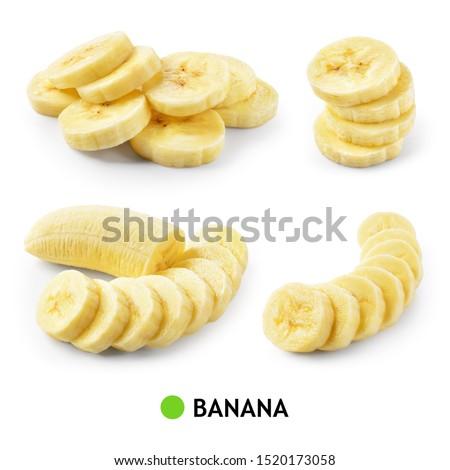 Banana isolate. Banana slice isolated. Bananas on white background. Banana set. #1520173058