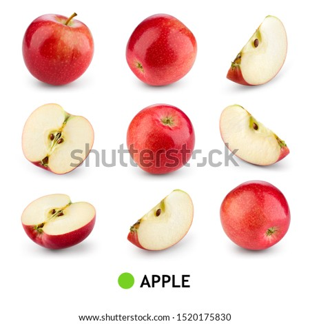 Red apple isolate. Apples on white background. Apple slice. Set with clipping path. #1520175830
