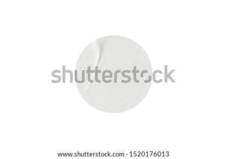 Blank white round paper sticker label isolated on white background with clipping path #1520176013