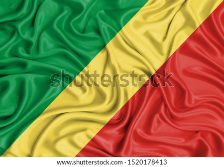 Silk Flag of Republic of the Congo. Republic of the Congo Flag of Silk Fabric. #1520178413