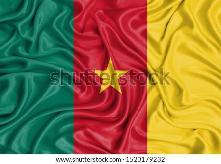 Silk Flag of Cameroon. Cameroon Flag of Silk Fabric. #1520179232