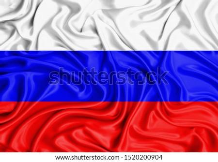 Silk Flag of Russia. Russia Flag of Silk Fabric. #1520200904