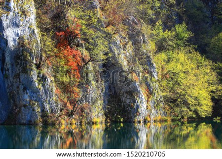Fall colors on the lake in National park Plitvice lakes, Croatia #1520210705
