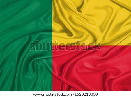Silk Flag of Benin. Benin Flag of Silk Fabric. #1520213330
