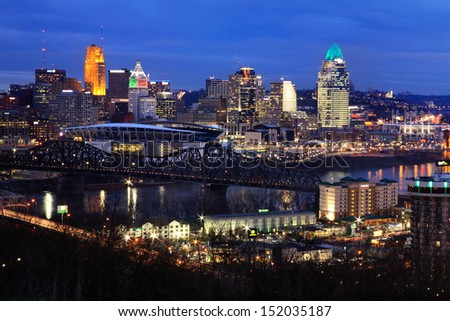 Downtown City Lights And Skyscrapers On A Winter's Eve In Cincinnati Ohio Just After Sunset, USA