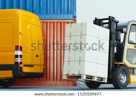 Forklift transporting cargo at warehouse docker.loader at storehouse. Pallet stacker truck equipment. 3d rendering. #1520509697