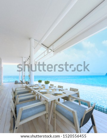 Beautiful view of Swimming Pool with  the sea at sunlight  - 3d rendering #1520556455