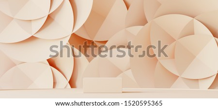 Abstract background for branding, identity and packaging presentation. Podium on cream paper background. 3d rendering illustration.