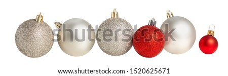 Christmas balls in a row Isolated. Collection of Xmas baubles  on white background. #1520625671