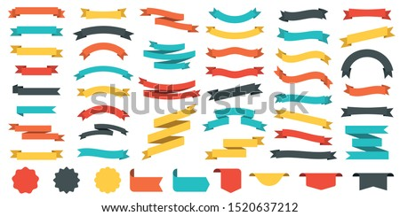 Different colored ribbons collection. Vector illustration #1520637212