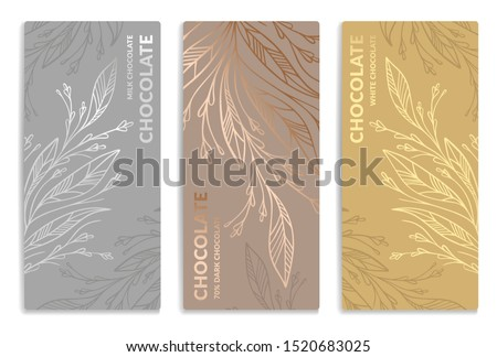 Silver and gold vintage set of chocolate bar packaging design. Vector luxury template with ornament elements. Can be used for background and wallpaper. Great for food and drink package types. #1520683025
