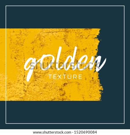 Gold Paint Glittering grunge textured Art Illustration with square banner outline. Vector Illustration. #1520690084