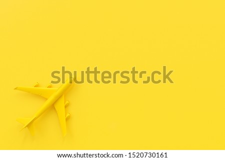 Airplane on yellow background. minimal idea concept, 3D Render. #1520730161