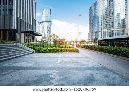 Empty Plaza and Modern Office Building, Qingdao, China