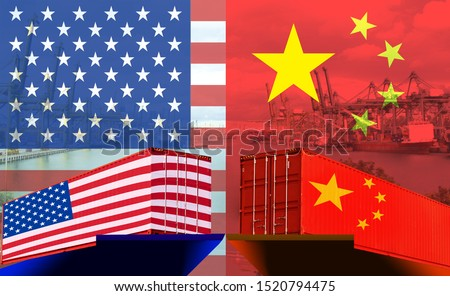 Concept image of USA-China trade war, Economy conflict, US tariffs on exports to China, Trade frictions #1520794475