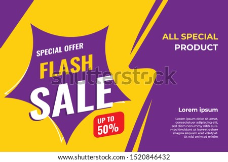 Flash sale discount banner, modern template special offer promotion  - vector - illustration #1520846432