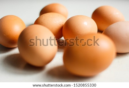 Chicken eggs isolated on white background. #1520855330
