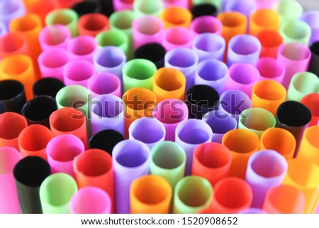 mul-ti color drinking Straw Background. Close up to plenty colorful straws background, ban plastic straws for save environment concept. #1520908652