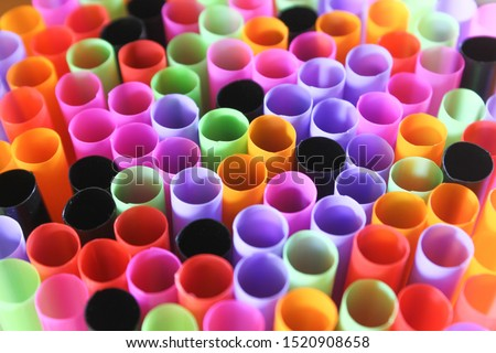 mul-ti color drinking Straw Background. Close up to plenty colorful straws background, ban plastic straws for save environment concept. #1520908658