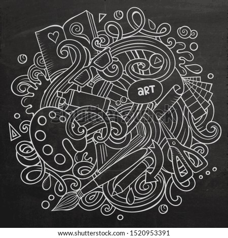 Cartoon doodles Art and Design illustration. Line art, detailed, with lots of objects background. Chalkboard artistic funny picture