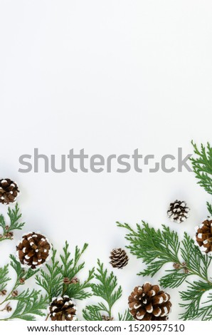 Vertical flat lay Christmas tree branches with pinecones on white background. Mockup with copy space for greeting text or xmas banner Royalty-Free Stock Photo #1520957510