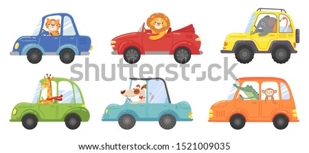 Cute animals in funny cars. Animal driver, pets vehicle and happy lion in car kid. Transportation animals or lion and dog character travel in cars. Isolated vector cartoon illustration icons set #1521009035