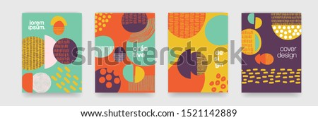 Fun doodle pattern backgrounds with abstract shapes and colors. Modern trendy cartoon pattern for funny brochure cover template, vector creative design Royalty-Free Stock Photo #1521142889
