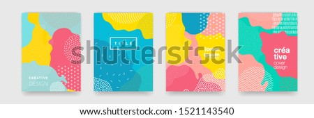 Fun doodle pattern background with abstract shapes and colors. Modern vector pattern for funny brochure cover template design #1521143540