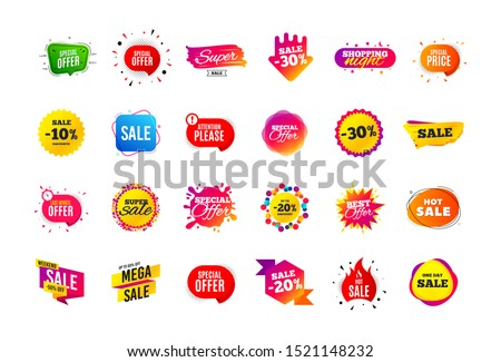 Sale banner badge. Special offer discount tags. Coupon shape templates design. Cyber monday sale discounts. Black friday shopping icons. Best ultimate offer badge. Super discount icons. Vector banners #1521148232